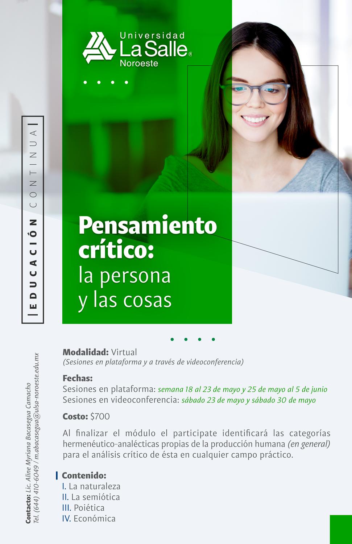 Pensamiento Crítico: la persona y las cosas_2020-2